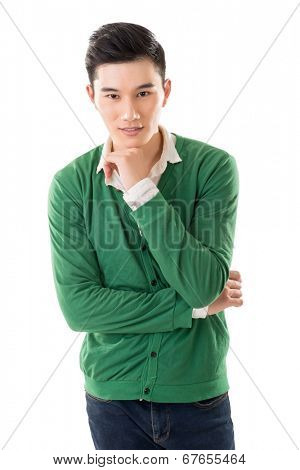 Sensitive Asian young man, closeup portrait on white background.