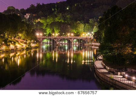 Turin (torino), River Po And Ponte Isabella