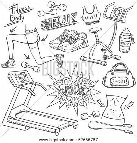 Gym doodles set