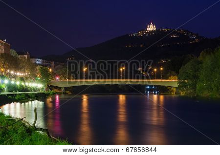 Turin (torino), River Po And Superga, Blue Hour