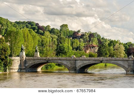 Turin, Bridge On River Po And Hills