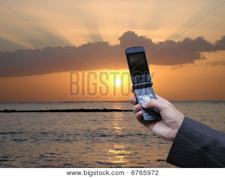 Businessman calling abroad with the newest technology