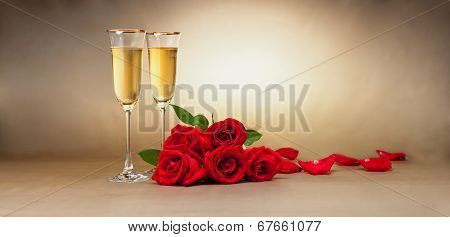 Champagne Glasses, Present And Roses