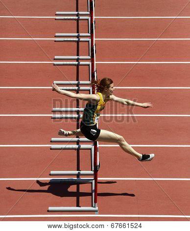 Hurdles Woman Run Track