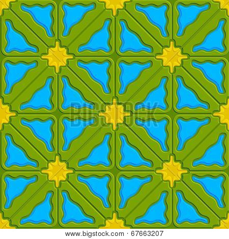 Triangle Wavy Green Yellow And Blue Embossed