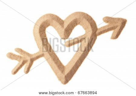 Love Sign Sculptured In Sand