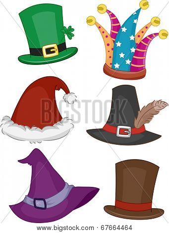 Illustration Featuring Different Party Hats