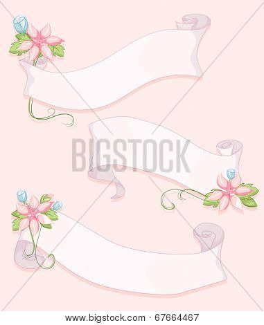 Shabby Chic-Themed Ribbons with Flowers Attached to Them
