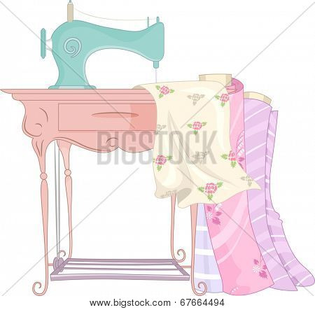 Shabby Chic Illustration Featuring a Treadle Sewing Machine