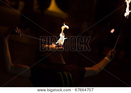 LOULE - JUNE 26: street fire performers at festival med, a world music festival in Loule, Portugal, June 26, 2014