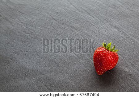 One Single Ripe Red Strawberry, with Text / Copy Space.