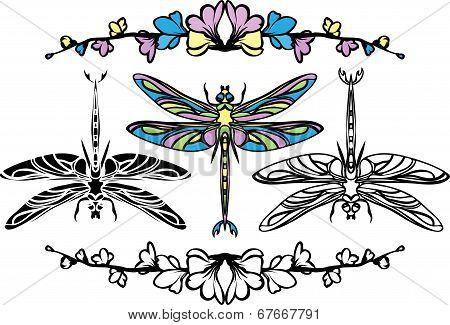 Set dragonflies
