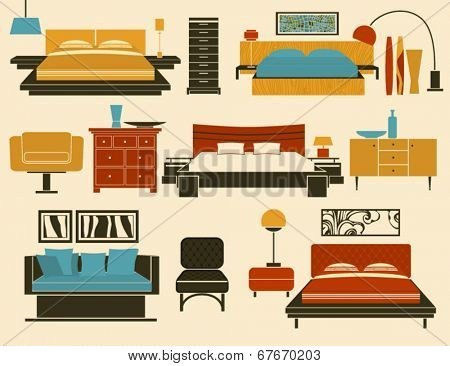 Bedroom Furniture and Accessories - Modern bedroom furniture, including beds, day bed, night stands, chests of drawers, chairs, table and floor lamps and decoration