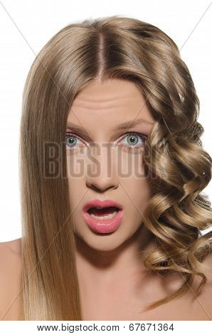 Woman With Cold Hair Surprised Looking At Camera