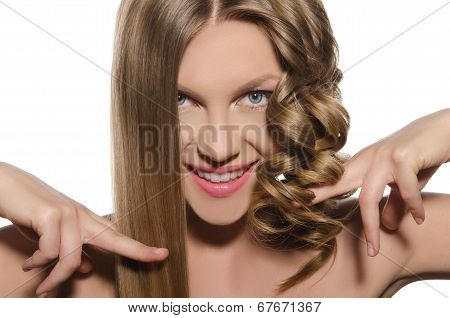 Woman With Haircut Keeps Hair In Hands