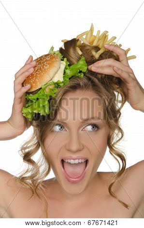 Woman With Burger And Fries Shouts