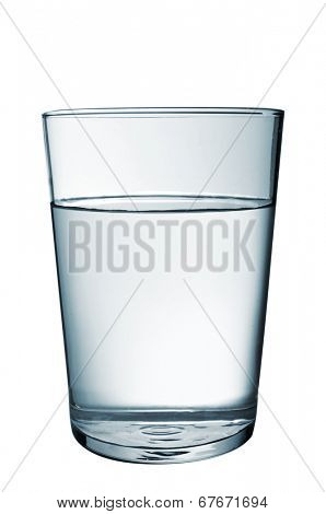 a refreshing glass of water on a white background