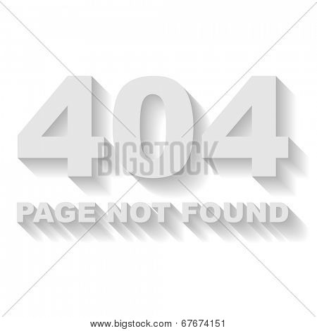Page not found error vector template with white background.