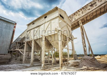 Container At  Plant For The Production Of Building Mixtures
