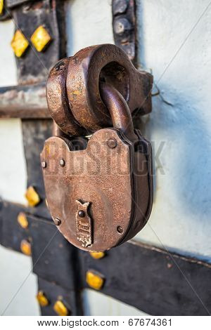 Rusty Lock On The Old Door