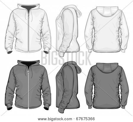 Vector. Men's hooded sweat-shirt with zipper (back, front and side view). Black and white variants.