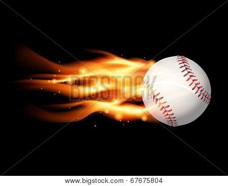 Flaming Baseball Illustration