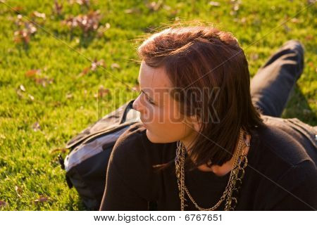 Young Woman In Grass.