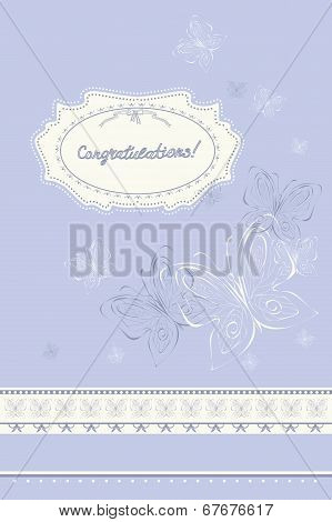 Vector Greeting Card With Butterflies