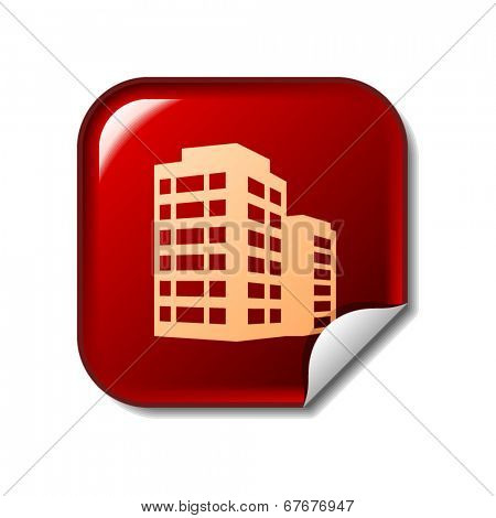 Building icon on red web sticker