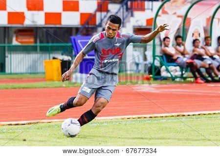 Sisaket Thailand-june 29: Ekkachai Sumrei Of Bangkok Utd. In Action During Thai Premier League Betwe