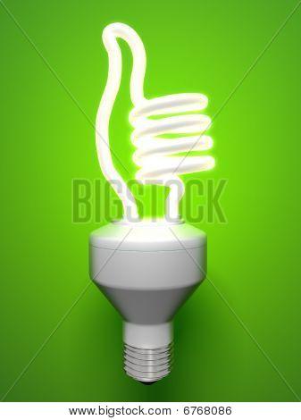 thumbs-up compact fluorescent light bulb