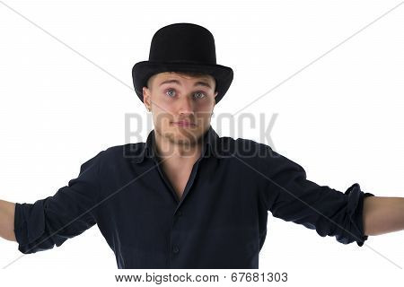 Handsome Blue-eyed Young Man With Black Top-hat