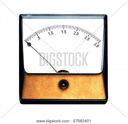 Old Ampermeter On White Background
