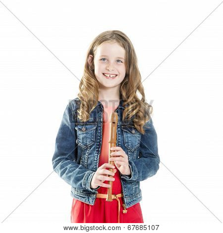 young girl with soprano recorder in studio