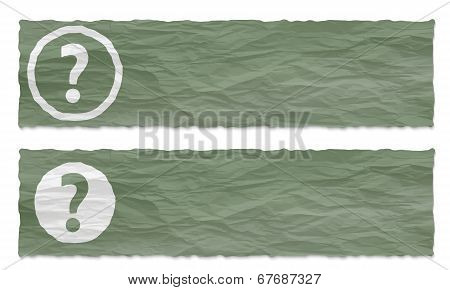 Set Of Two Banners With Crumpled Paper And Question Mark