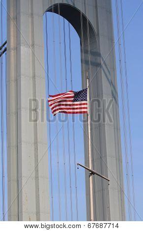 American flag in the front of Verrazano Bridge in Staten Island