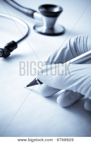 Protective Gloved Hand In Medical Scene Writing