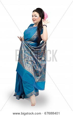 Woman Dancing In Blue Sari