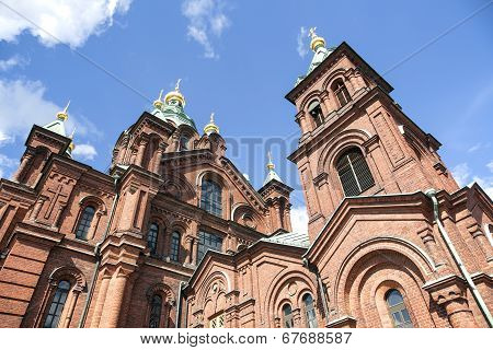 Uspenski Cathedral And Blue Sky In Helsinki