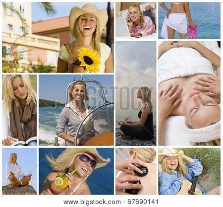 Montage of beautiful female girl young woman enjoying a healthy active lifestyle, shopping, relaxing using laptop computer, on holiday vacation enjoying yoga, boat trip, spa treatments
