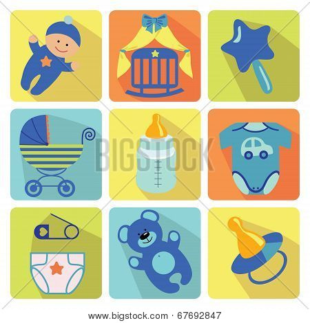 Cute Cartoons Icons  For Newborn Baby Boy