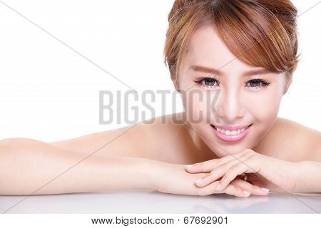 Beauty Woman Face With Mirror Reflection