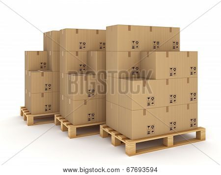 Carton boxes on a pallets.