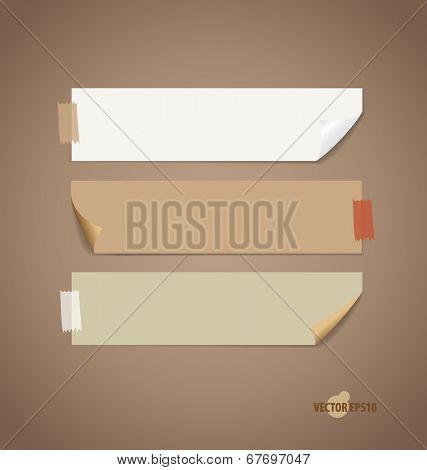 Vintage paper designs (note paper). Vector illustration.