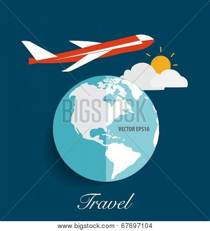 Modern globe with airplane. Vector illustration.
