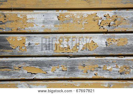 Old Planks With Peeling Yellow Ochrebpaint
