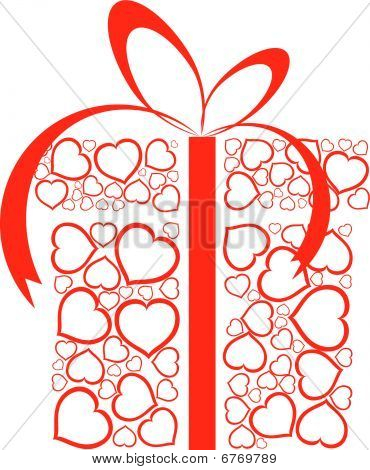 Stylized Love Present Box Made From Red Hearts