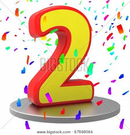 Two Anniversary Represents Happy Birthday And 2Nd