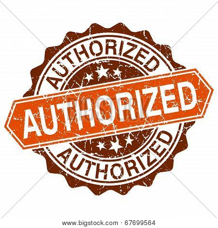 Authorized Grungy Stamp Isolated On White Background