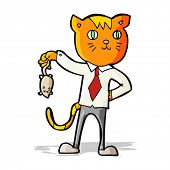 image of dead mouse  - cartoon business cat with dead mouse - JPG